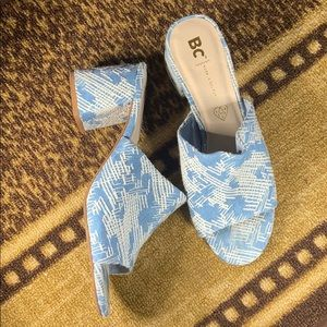 BC Vegan Blue White Heel Sandals Mules Embroidered